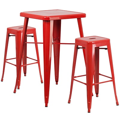 Flash Furniture Metal Indoor-Outdoor Bar Table Set with 2 Backless Barstools; Red (CH31330B230SQRD)