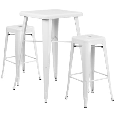 Flash Furniture Metal Indoor-Outdoor Bar Table Set w/2 Backless Barstools in White (CH31330B230SQWH)