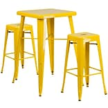 In/Out Bar T Set w/2 Backless Barstools Ylw