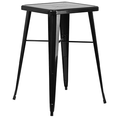 Flash Furniture 24 Square Metal Indoor/Outdoor Bar-Height Table; Black (CH31330BK)