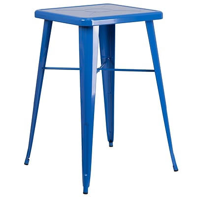 Flash Furniture 24 Square Metal Indoor-Outdoor Bar Height Table in Blue (CH31330BL)