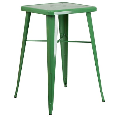 Flash Furniture 27.75 Square Metal Indoor-Outdoor Bar Height Table in Green (CH31330GN)