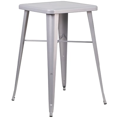 Flash Furniture 24 Square Metal Indoor/Outdoor Bar Height Table; Silver (CH31330SIL)