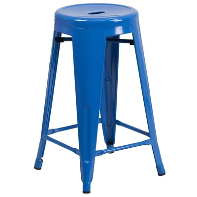 Flash Furniture 24 High Backless Metal Indoor/Outdoor Counter-Height Stool w/Round Seat, Blue