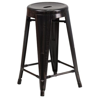 Flash Furniture 24 Backless Indoor/Outdoor Counter Height Stool, Black/Antique Gold Metal, Rnd Seat