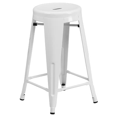 Flash Furniture 24H Backless Metal Indoor/Outdoor Counter-Height Stool w/Round Seat, White