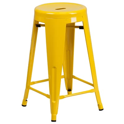 Flash Furniture 24 High Backless Yellow Metal Indoor/Outdoor Counter Height Stool w/Round Seat