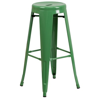 Flash 30 High Backless Metal Indoor-Outdoor Barstool w/Rnd Seat, Green Powder Coat Finish, 4bx