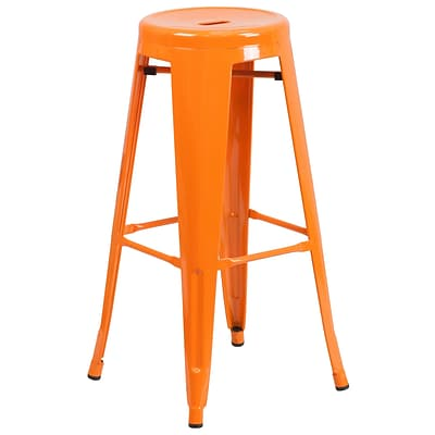 Flash Furniture 30H Backless Metal Indoor/Outdoor Barstool with Round Seat, Orange (CH3135030OR)