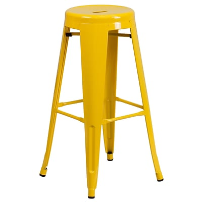 Flash Furniture 30 High Backless Metal Indoor-Outdoor Barstool w/Round Seat, Yellow Finish, 4bx