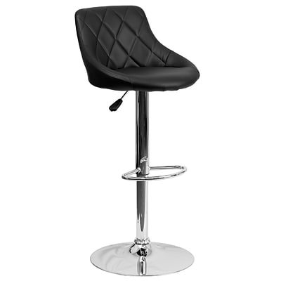 Flash Furniture Adjustable-Height Contemporary Vinyl Bucket Seat Barstool, Black w/Chrome Base