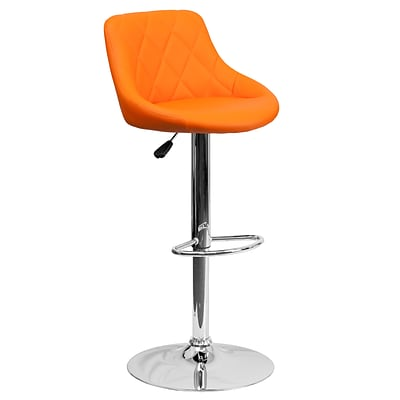 Flash Furniture Adjustable-Height Contemporary Orange Vinyl Bucket Seat Barstool w/Chrome Base