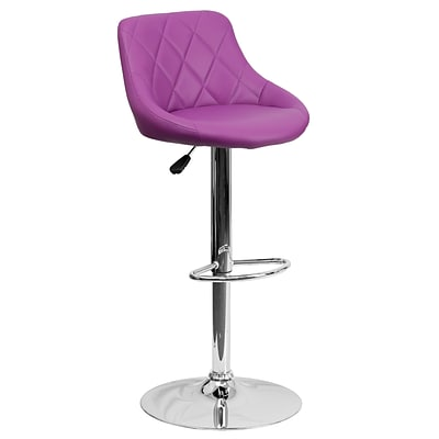 Flash Furniture 32 Contemporary Purple Vinyl Bucket Seat Adj Height Barstool w/Chrome Base; 2bx