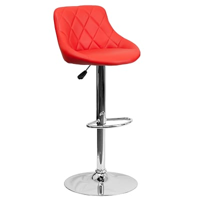 Flash Furniture Contemporary Red 32 Vinyl Bucket Seat Adjustable Height Barstool w/Chrome Base, 2bx