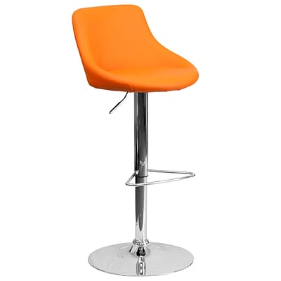 Flash Furniture Contemporary Orange Vinyl Bucket Seat Adjustable Height Barstool w/Chrome Base