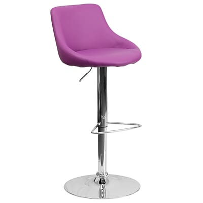 Flash Furniture Adjustable-Height Contemporary Vinyl Bucket Seat Barstool, Purple w/Chrome Base