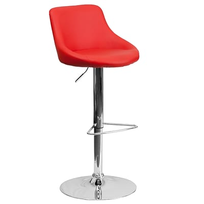 Flash Furniture Contemporary Red Vinyl Bucket Seat Adjustable Height Barstool w/Chrome Base