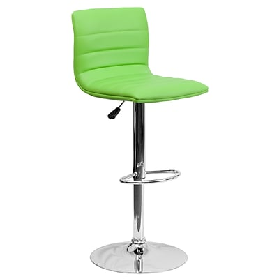 Flash Furniture Contemporary Adjustable-Height Barstool, Green Vinyl, Chrome Base (CH920231GRN)