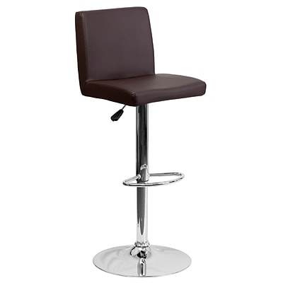 Flash Furniture Adjustable-Height Contemporary Vinyl Barstool, Brown with Chrome Base (CH92066BRN)