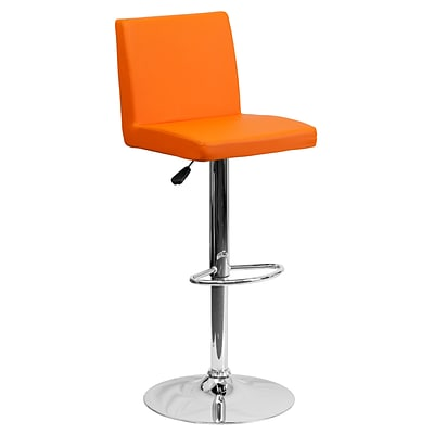 Flash Furniture Adjustable-Height Contemporary Vinyl Barstool, Orange with Chrome Base (CH92066ORG)