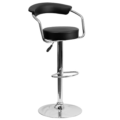 Flash Furniture Adjustable-Height Contemporary Vinyl Barstool, Black w/Chrome Arms and Base