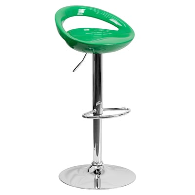 Flash Furniture Adjustable-Height Contemporary Plastic Barstool, Green w/Chrome Base (CHTC31062GN)