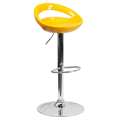 Flash Furniture Adjustable-Height Contemporary Yellow Plastic Barstool, Chrome Base CHTC31062YEL()