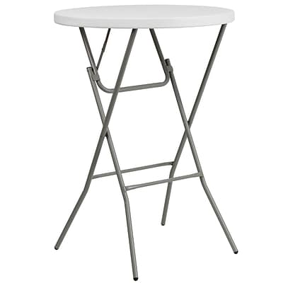 Flash Furniture 31.25 Rnd Granite Wht Plastic Bar Height Fold Table, Gray Powder Coated Cross Legs