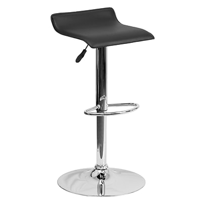 Flash Furniture Adjustable-Height Contemporary Vinyl Barstool, Black with Chrome Base (DS801CONTBK)