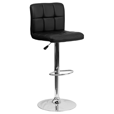 Flash Furniture Adjustable-Height Contemporary Quilted Vinyl Barstool, Blk w/Chrome Base