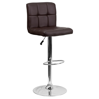 Flash Furniture Contemporary Adjustable Height Barstool, Brown Quilted Vinyl w/Chrome Base