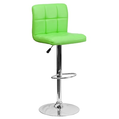 Flash Furniture Adjustable-Height Contemporary Barstool, Green Quilted Vinyl, Chrome Base DS810MODGN