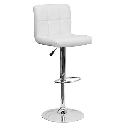 Flash Furniture Adjustable-Height Contemporary Quilted Vinyl Barstool, Wht w/Chrome Base