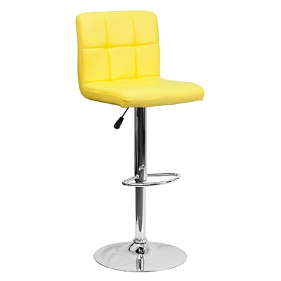 Flash Furniture Adjustable-Height Contemporary Quilted Vinyl Barstool, Yellow w/Chrome Base