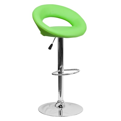 Flash Furniture Vinyl Contemporary Rounded Back Adjustable Height Barstool, Green w/Chrome Base