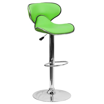 Flash Furniture 32.5 Contemporary Cozy Mid Back Green Vinyl Adj Height Barstool w/Chrome Base