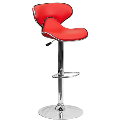 Flash Furniture Adjustable-Height Contemporary Cozy Mid-Back Vinyl Barstool; Red w/Chrome Base
