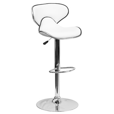 Flash Furniture Adjustable-Height Contemporary Cozy Mid-Back Vinyl Barstool, White w/Chrome Base