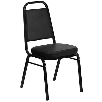 Flash Furniture Hercules Trapezoid-Back Stacking Banquet Chair, Black Vinyl, 2.5 Thick Seat, Black Frame (FDBHF1)