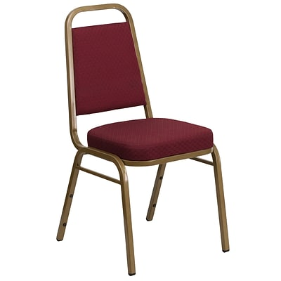 Flash Hercules Series Trapezoidal Back Stacking Banquet Chair, Burgundy Patterned Fabric, Gold