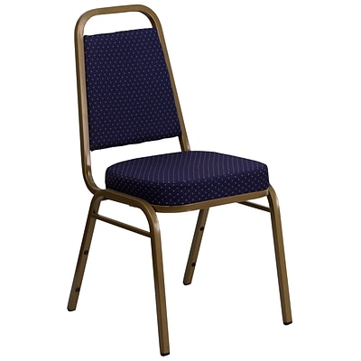 Flash Furniture Hercules Trapezoidal-Back Stack Banquet Chair, Navy-Pattern, 2.5 Seat, Gold