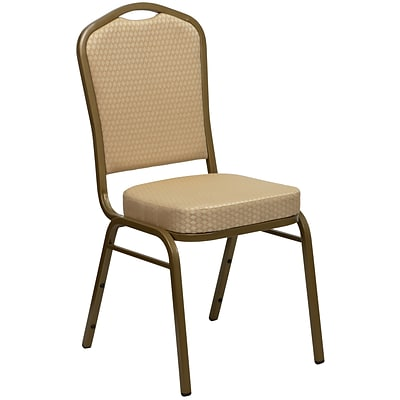 Flash Furniture Hercules Crown Back Stacking Banquet Chair, Beige Fabric, 2.5 Seat, Gold Frame,