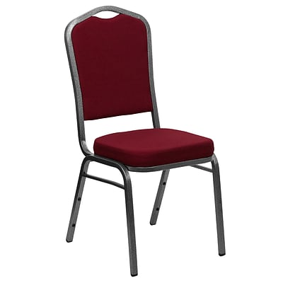 Flash Furniture Hercules Crown-Back Stacking Chair, Burgundy Fabric, 2.5 Seat, Silver Vein