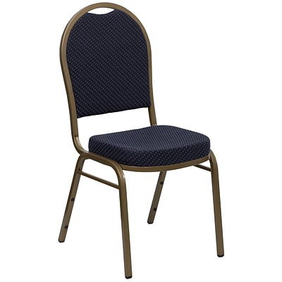Flash Furniture Hercules Dome-Back Stacking Banquet Chair, Navy Patterned Fabric, 2.5 Seat, Gold