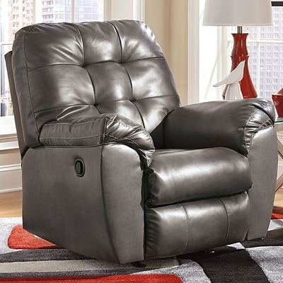 Flash Furniture Signature Design by Ashley Alliston Rocker Recliner in Gray DuraBlend FSD2399RECGRY