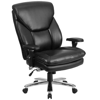 Flash GO2085LEA Hercules Leather 24/7 Multi-Shift Big & Tall Exec Swivel Chair, Lumbar Support, Blk