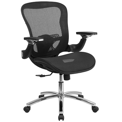 Flash Mid-Back Mesh Executive Swivel Office Chair w/Synchro-Tilt & Height-Adj Flip-Up Arms, Black