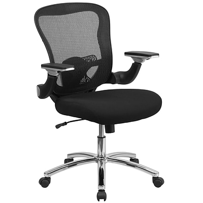 Flash GOWY872 Mid-Back Mesh Exec Swivel Office Chair, Black w/Mesh Padded Seat & Adj Flip-Up Arms
