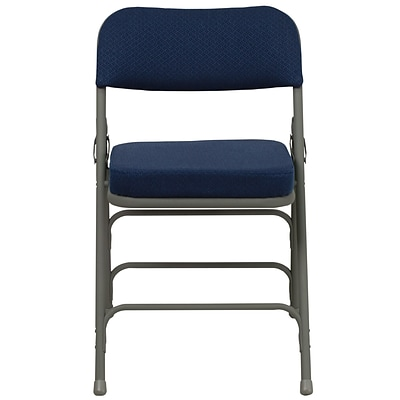 Flash Furniture Hercules Curved Triple Braced Fabric Upholstered Metal Folding Chair in Navy (HAMC320AFNVY)