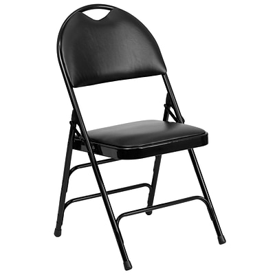 Flash Furniture Hercules Series Extra Large Ultra-Premium Triple Braced Black Metal Folding Chair